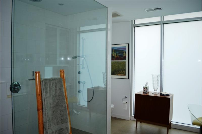 Bathroom with upgraded shower